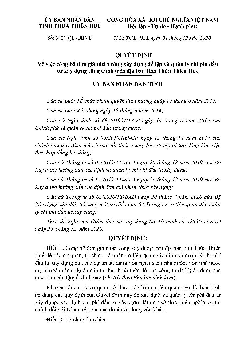 Đơn giá nhân công Thừa Thiên Huế năm 2020 theo Quyết định số 3401/QĐ-UBND