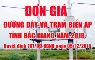 đơn giá đường dây và trạm biến áp Bắc Giang