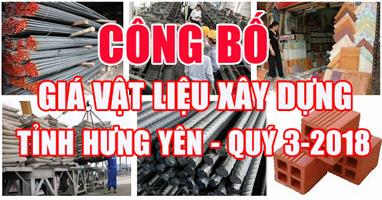 Giá vật liệu xây dựng tỉnh Hưng Yên quý 3-2018