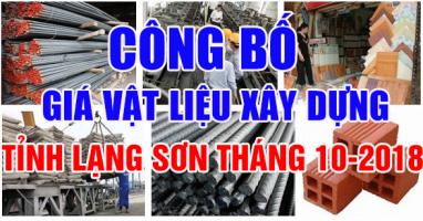 giá vật liệu xây dựng tỉnh Lạng Sơn tháng 10-2018