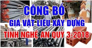 giá vật liệu xây dựng tỉnh Nghệ An quý 3-2018