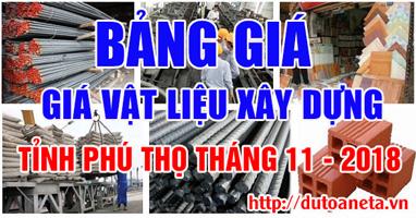 giá vật liệu xây dựng tỉnh Phú Thọ tháng 11-2018