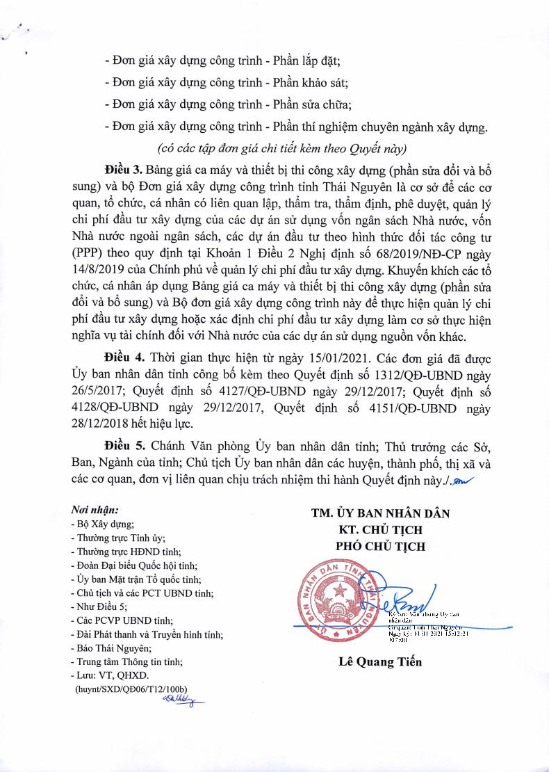 Bộ đơn giá xây dựng tỉnh Thái Nguyên năm 2021 theo Quyết định số 50/QĐ-UBND