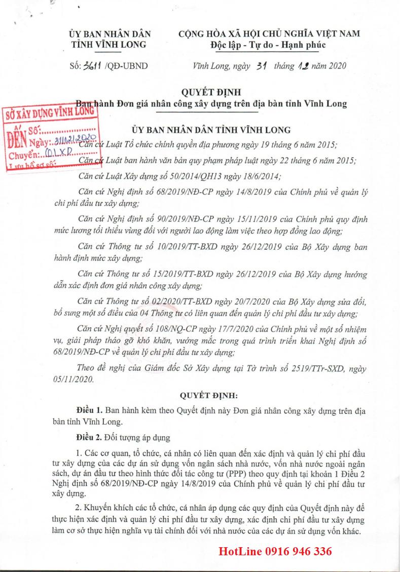 Đơn giá nhân công tỉnh Vĩnh Long năm 2020 theo Quyết định số 3611/QĐ-UBND
