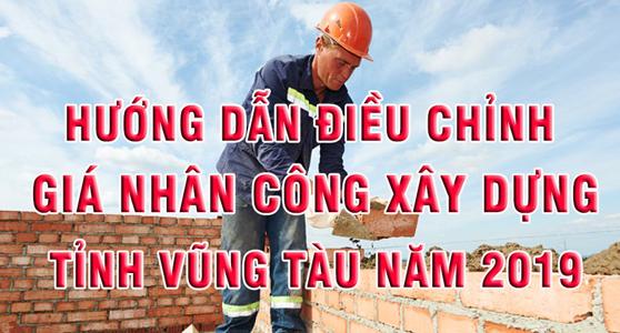 giá nhân công xây dựng năm 2019 tỉnh Vũng Tàu